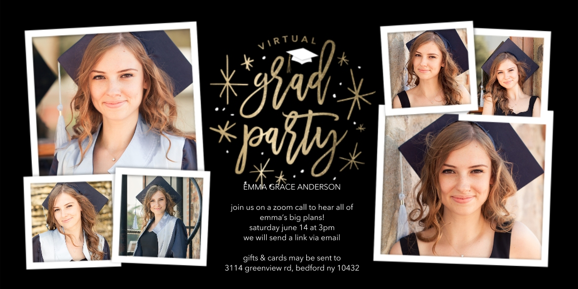 Graduation Invitations Flat Glossy Photo Paper Cards with Envelopes, 4x8, Card & Stationery -Virtual Grad Party Sparkling by Tumbalina