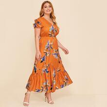 Plus Layered Flutter Sleeve Ruffle Hem Floral Print Dress