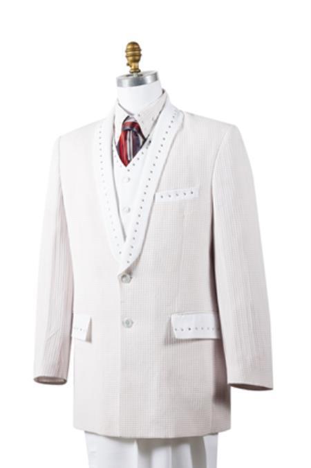 Mens Unique 2 Button Tuxedo Trimmed Pleated Pants