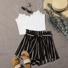 Cami Top mit Bogenkante & Shorts Set mit Papiertasche Taille und Streifen