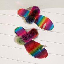 Sandalen mit Kunstpelz Einsatz