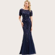 Godet Mermaid Hem Sequin Mesh Prom Dress
