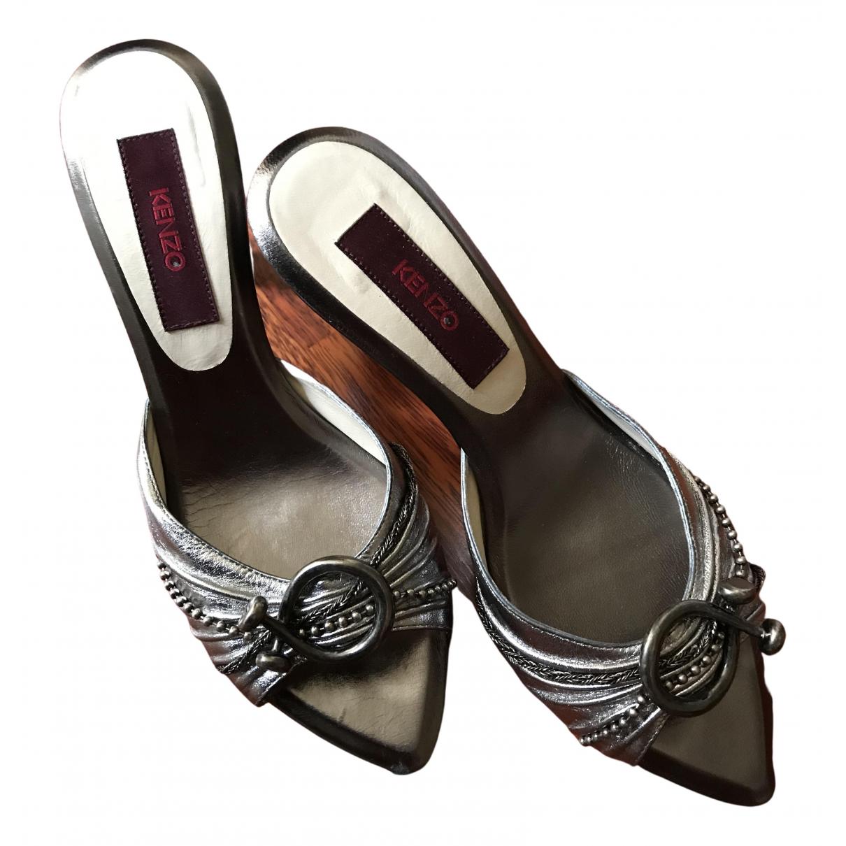 Kenzo \N Sandalen in  Silber Leder