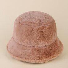 Solid Fluffy Bucket Hat