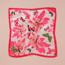 Butterfly Floral Printed Square Scarf