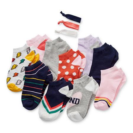 Arizona Big Girls 10 Pair Low Cut Socks, Medium , Blue