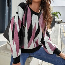 Drop Shoulder Argyle Pattern Sweater