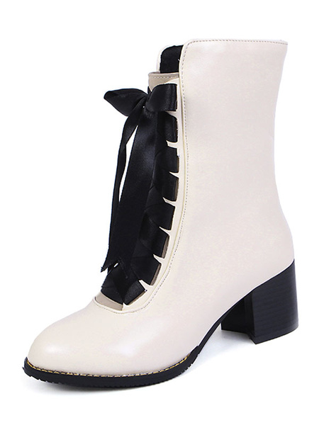 Milanoo Women's White Booties PU Leather Lace Up Chunky Heel Short Boots