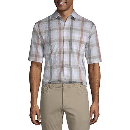 Van Heusen Air Textured Wovens Mens Short Sleeve Moisture Wicking Checked Button-Down Shirt, Small , Beige