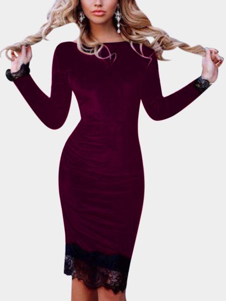 Yoins Burgundy Lace Hem Bateau Long Sleeves Midi Dress