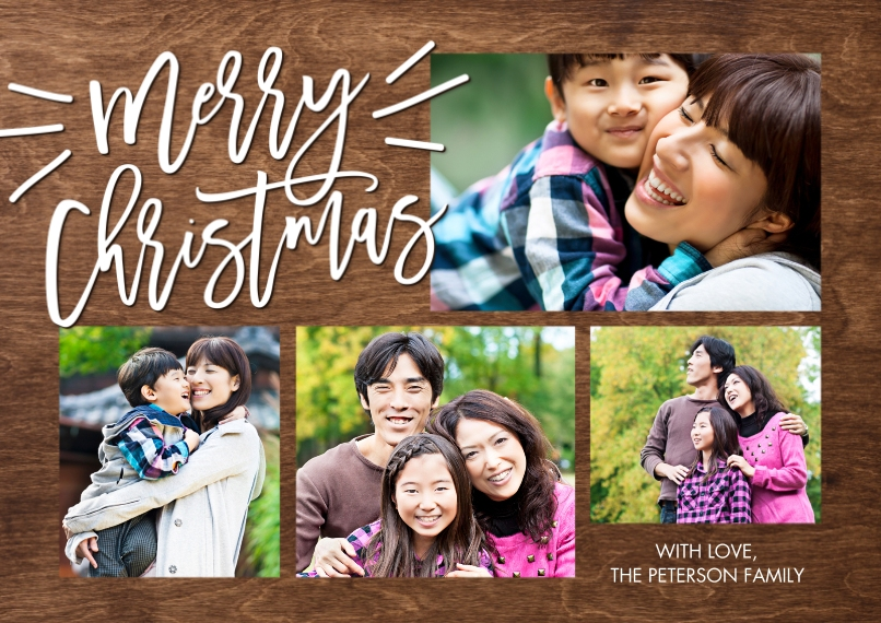 Christmas Photo Cards 5x7 Cards, Premium Cardstock 120lb with Rounded Corners, Card & Stationery -Christmas Woodgrain Merry by Tumbalina
