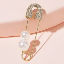 Broche con diseño de clip de papel con diseño de perla artificial 1 pieza