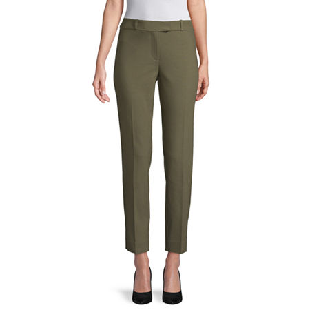 Liz Claiborne Womens Mid Rise Regular Fit Ankle Pant, 18 , Green