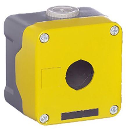 RS PRO Yellow Die Cast Aluminium Push Button Enclosure - 1 Hole 22mm Diameter