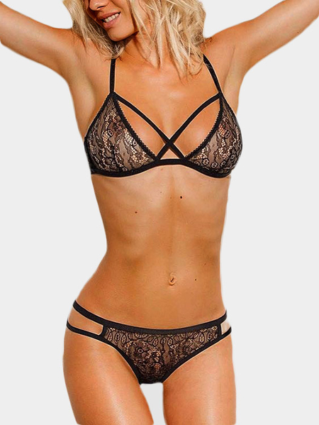 Yoins Black Lace See-through Lingerie Sets