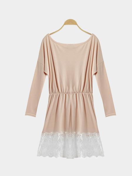 Yoins Bateau Collar Stitching Lace Hem Dress