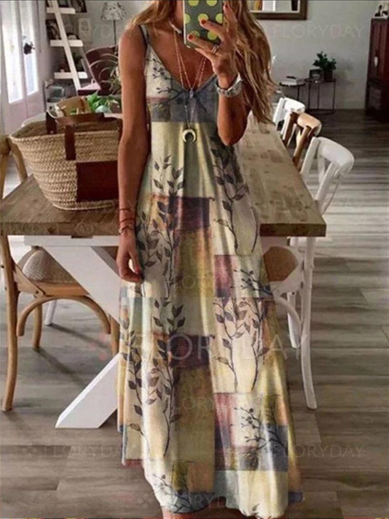 Ericdress Print Sleeveless V-Neck High Waist Travel Look Dress