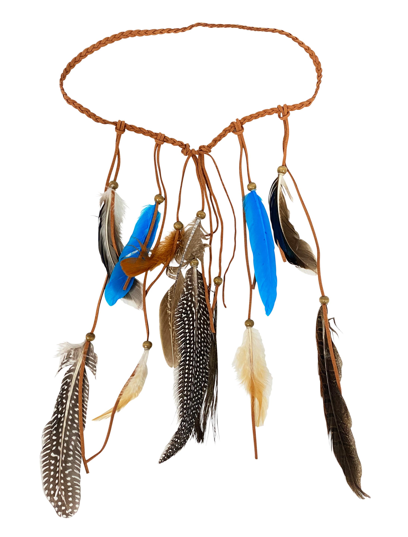 Kostuemzubehor Federstirnband blau mit Fasanfedern und Pfauenfedern