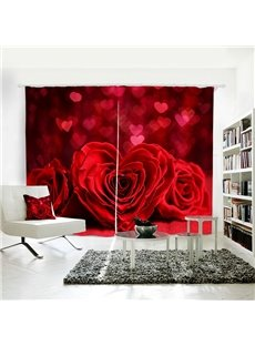 3D Romantic and Red Roses Custom Living Room and Bedroom Curtain