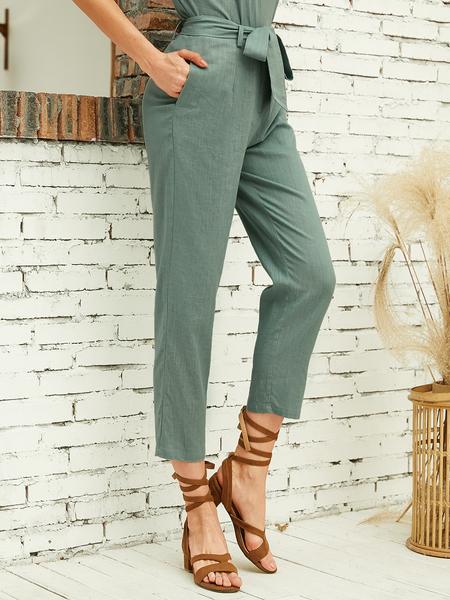 YOINS Green Belt Design High-Waisted Pants