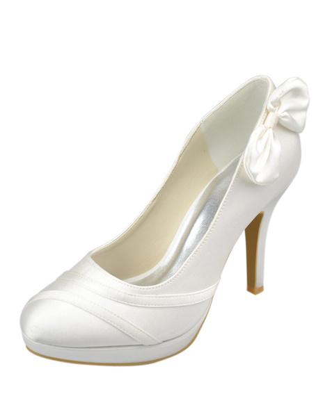 Milanoo Zapatos de novia de saten Zapatos de Fiesta de plataforma Zapatos marfil  Zapatos de boda de puntera redonda 10cm con lazo