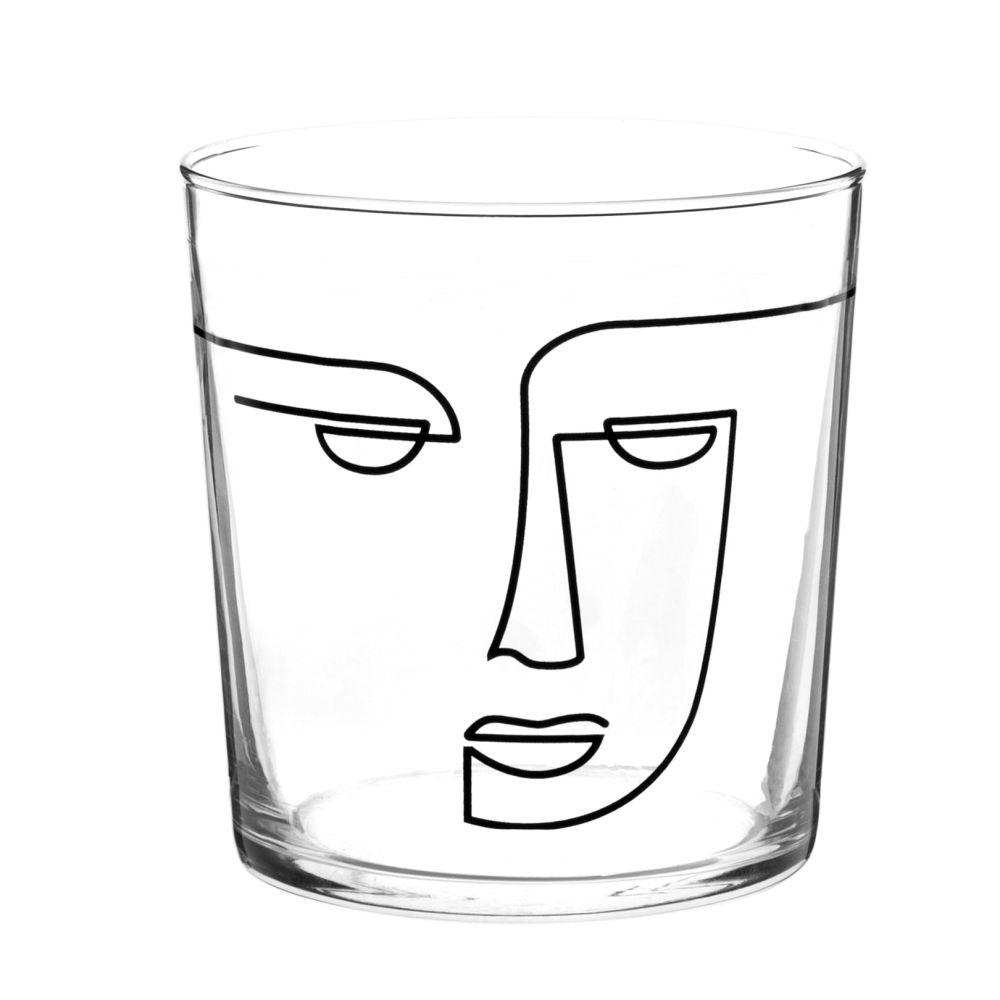 Glasbecher mit aufgedrucktem Gesicht