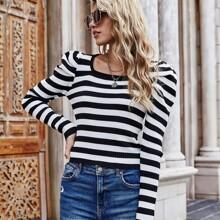 Pullover mit Streifen und Puffaermeln