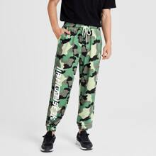 Guys Camo & Letter Graphic Drawstring Pants