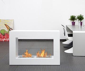 BB-QLW Qube Large Freestanding Bio Ethanol Fireplace with 2 Adjustable Burners  19106 BTU Heat Capacity  4 Casters  2 Heat Resistant Glasses