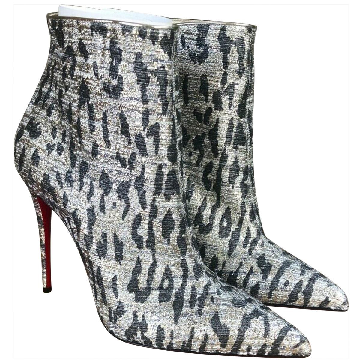 Christian Louboutin - Boots   pour femme en toile - argente
