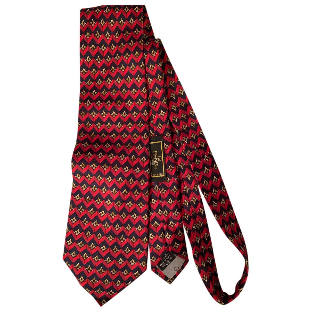 Fendi N Burgundy Silk Ties for Men N