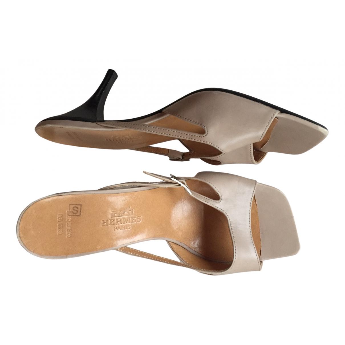 Hermès \N Beige Leather Sandals for Women 36.5 EU