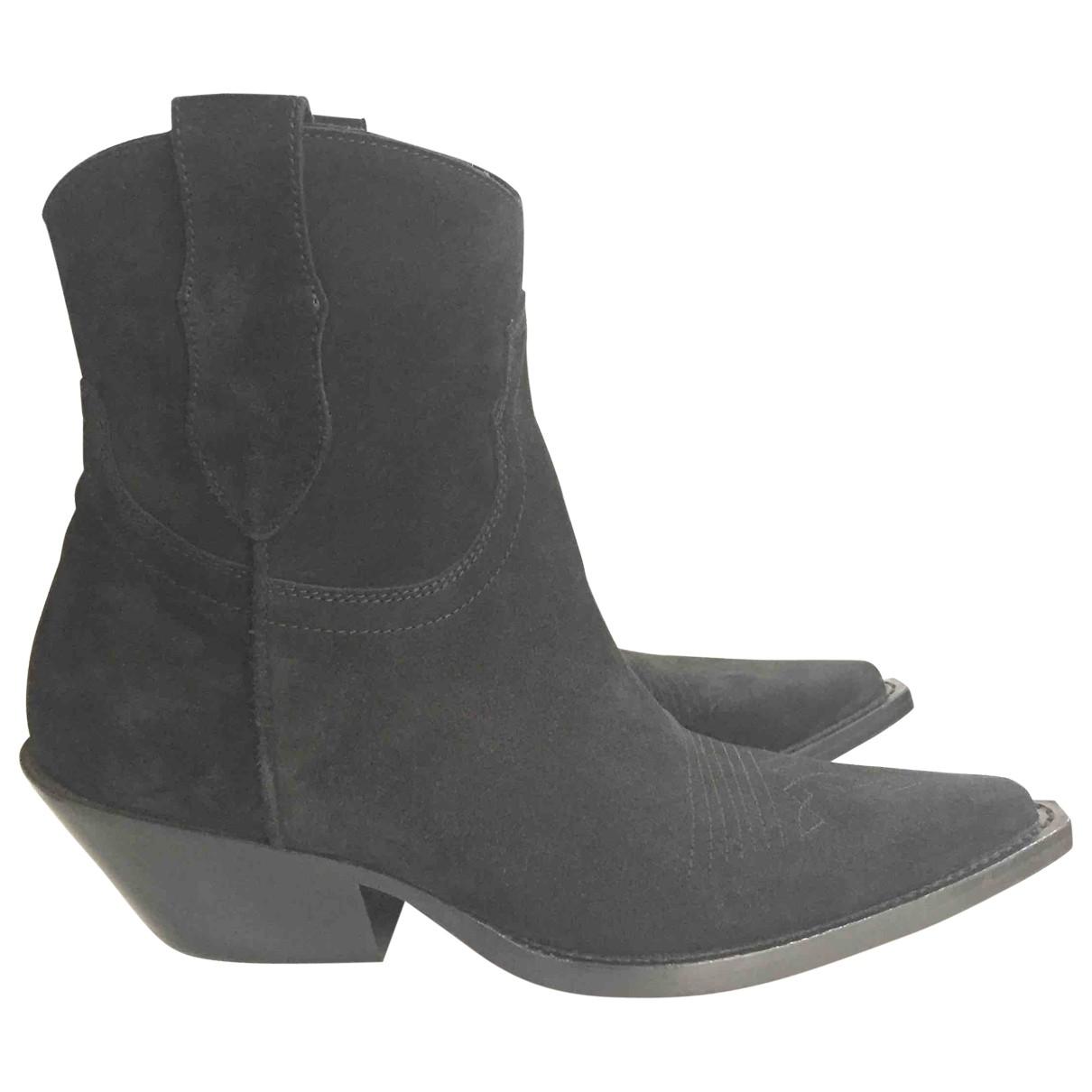 Maison Martin Margiela \N Black Suede Ankle boots for Women 36 EU