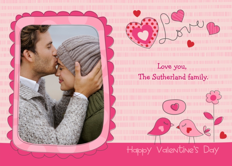 Valentine's Cards 5x7 Cards, Premium Cardstock 120lb with Rounded Corners, Card & Stationery -Love Birds