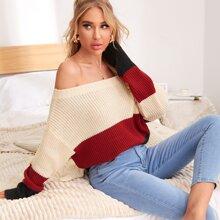 Off Shoulder Colorblock Sweater