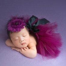 Newborn Girl Bow Back Mesh Skirt & Headband Photo Outfit