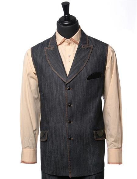 Mens Double Breasted Black Denim Vegan Leather Vest Walking Suit