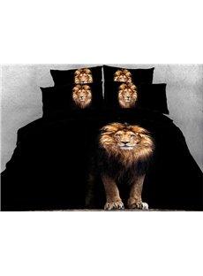 Vivilinen 3D Standing Lion Printed Cotton 4-Piece Black Bedding Sets/Duvet Covers