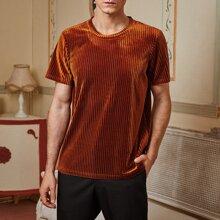 Einfarbiges Strick Samt T-Shirt