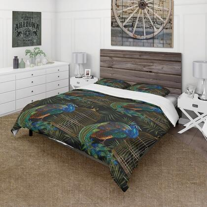 BED18717-T Designart 'Tails Of Peacocks And Birds Cage' Farmhouse Duvet Cover