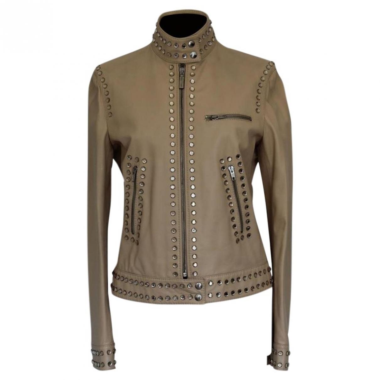 Moschino - Veste   pour femme en cuir - beige