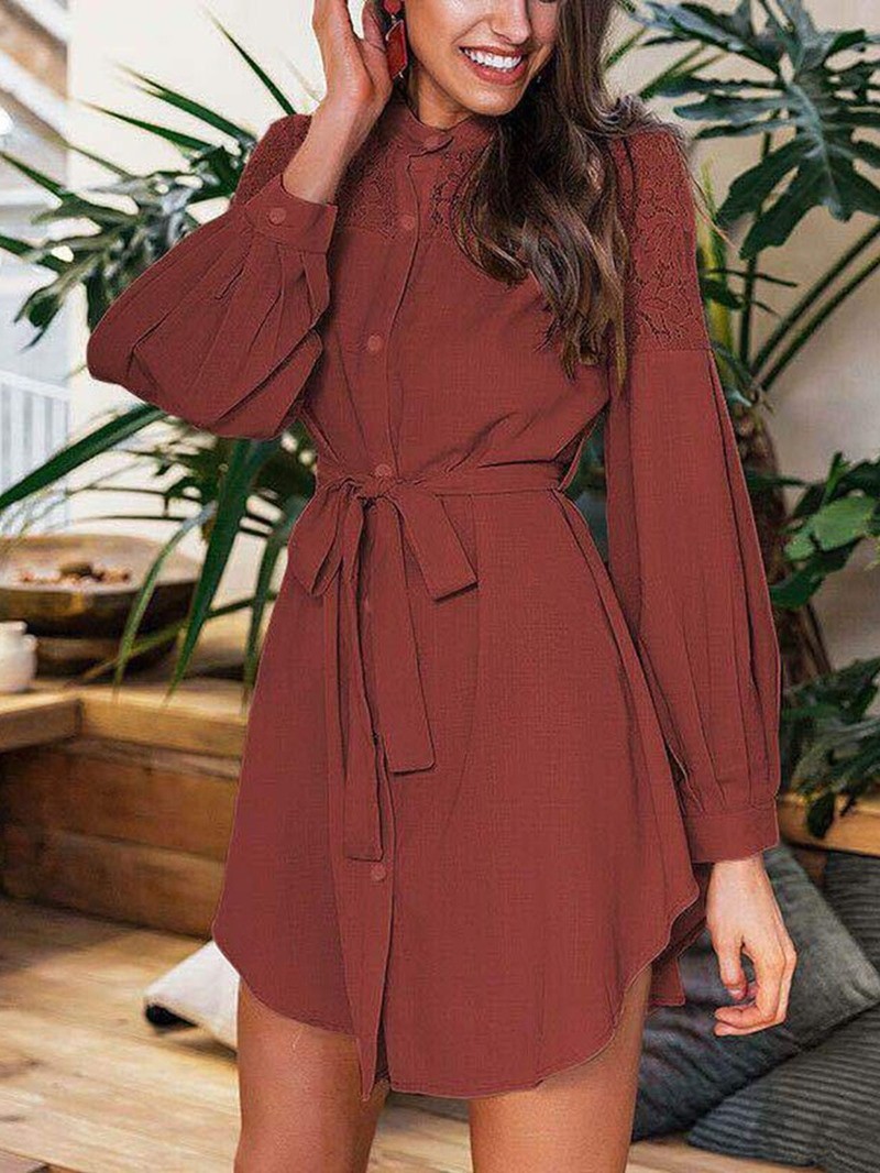 Ericdress Above Knee Stand Collar Patchwork Date Night/Going Out Fall Dress