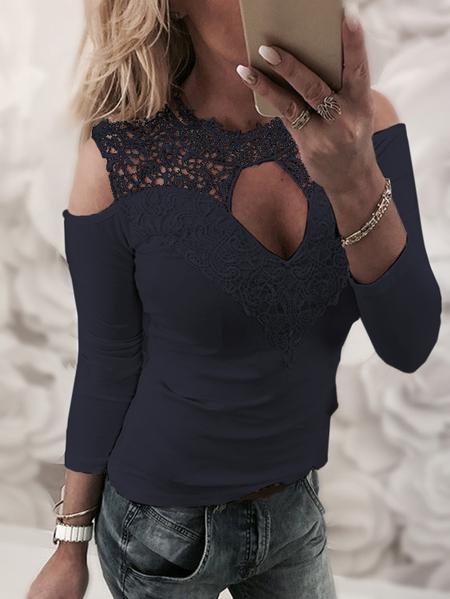 Yoins Navy Lace Details Plain Cold Shoulder Long Sleeves T-shirts
