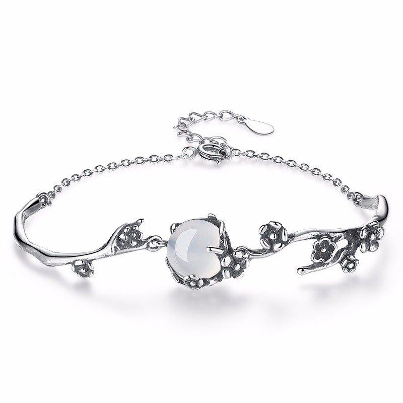 S925Silver Sweet Chain Bracelets White Gold Plum Blossom Plant Bracelet Elegant Jewelry for Women