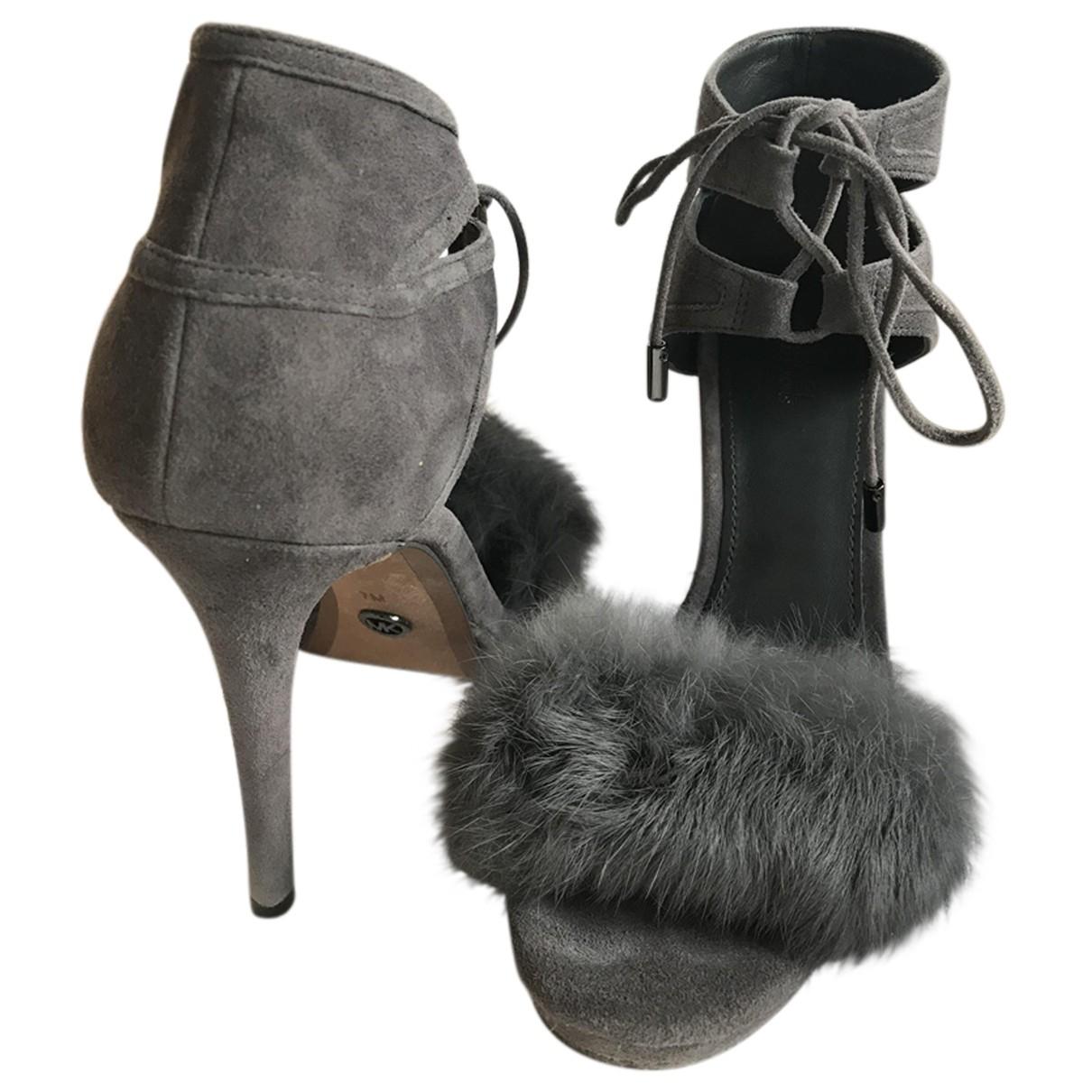 Michael Kors N Grey Leather Heels for Women 37 EU