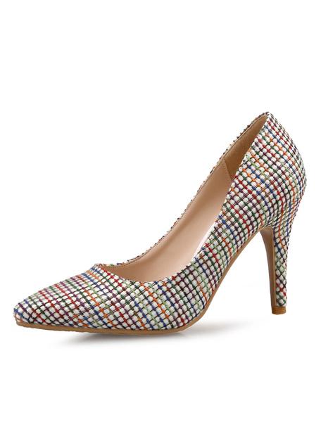 Milanoo Women's High Heels Ecru White Pointed Toe Stiletto Plaid PU Slip On Pumps