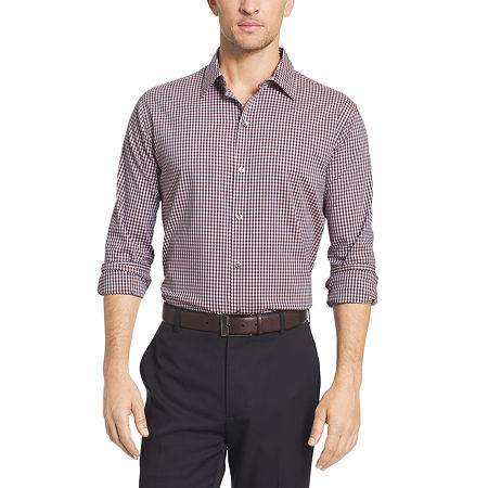 Van Heusen Long Sleeve Flex Slim Fit Non Iron Stretch Button-Front Shirt, X-large , Red