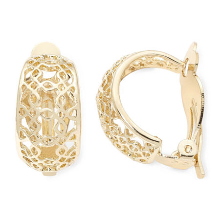 Liz Claiborne Gold-Tone Clip-On Hoop Earrings, One Size , Yellow