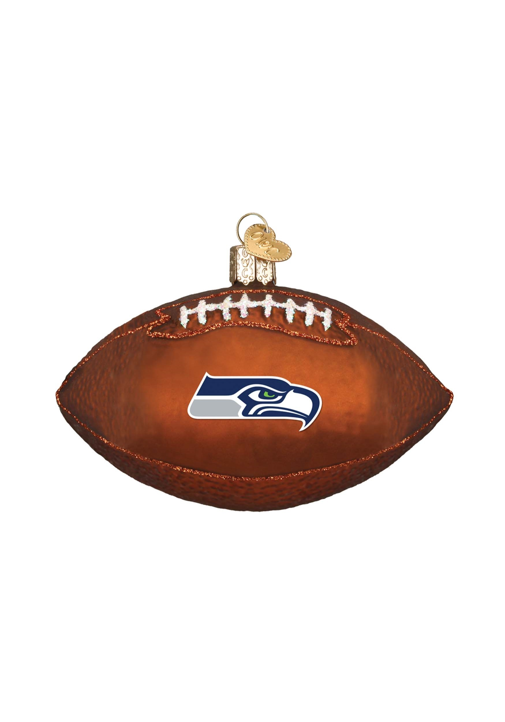 Seattle Seahawks Glass Football Ornament