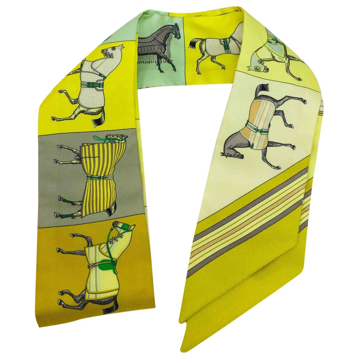 Hermès Twilly 86 Yellow Silk scarf for Women \N